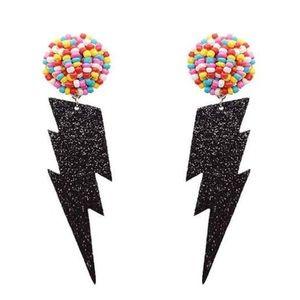 NWT Multi-Color Seed Bead Black Glitter Lightning